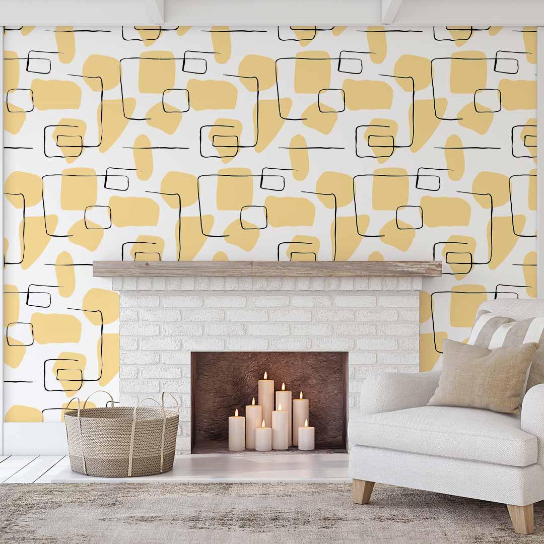 Papel de Parede Abstrato Line Art Amarelo