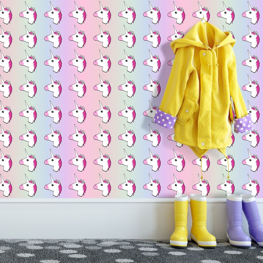 Papel de parede arco iris unicornio qcola for Papel para empapelar infantil