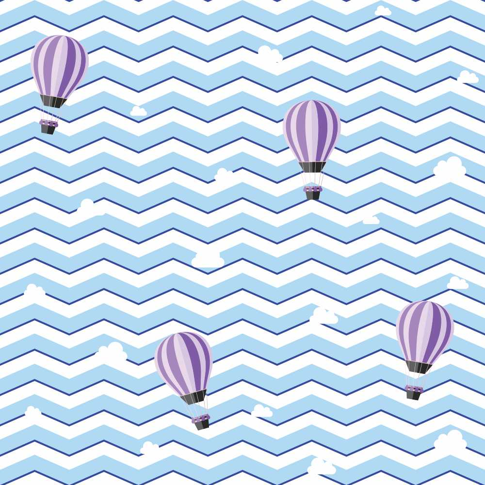 Papel de Parede Chevron Boy Balões