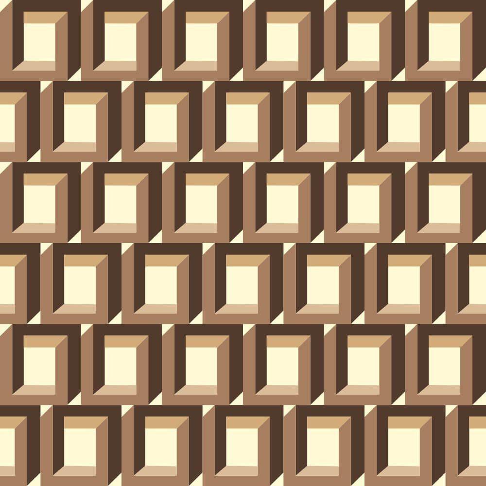 Papel de Parede Cubo Ilusionista Coffee