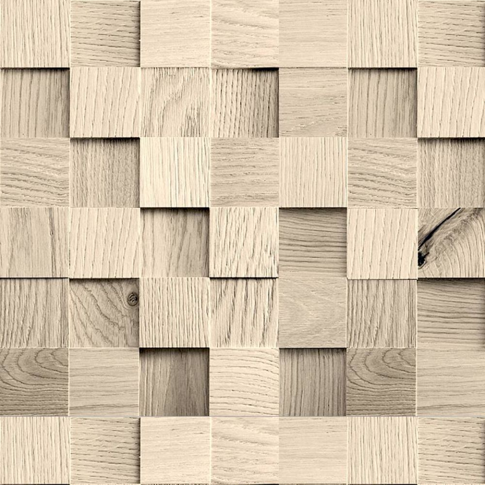 Papel de parede cubos de madeira qcola for Papel para paredes salon