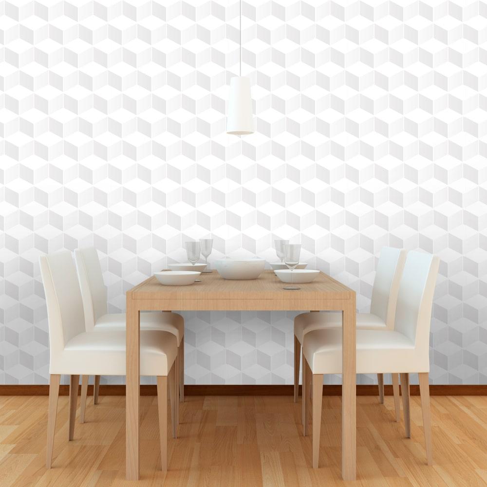 Papel de Parede Geométrico Cubos Clean 3D