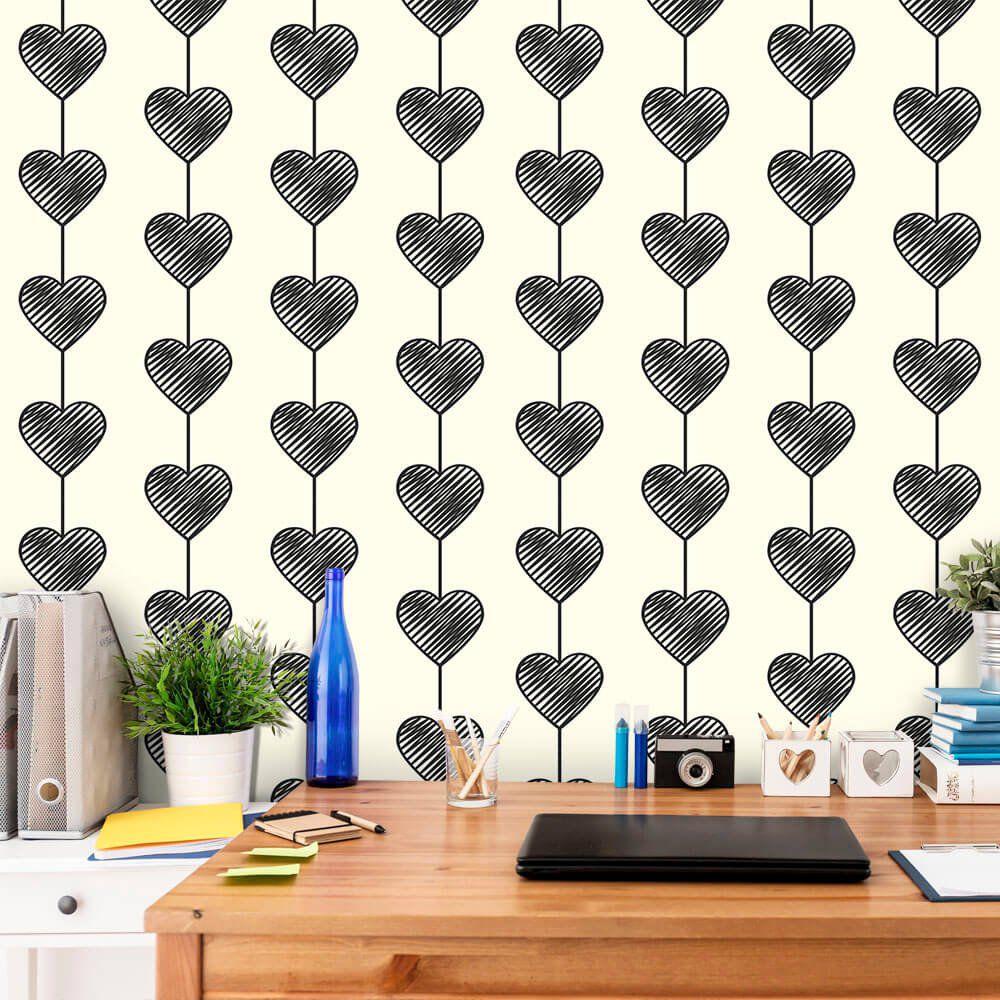 Papel de Parede Heart Curtain Black