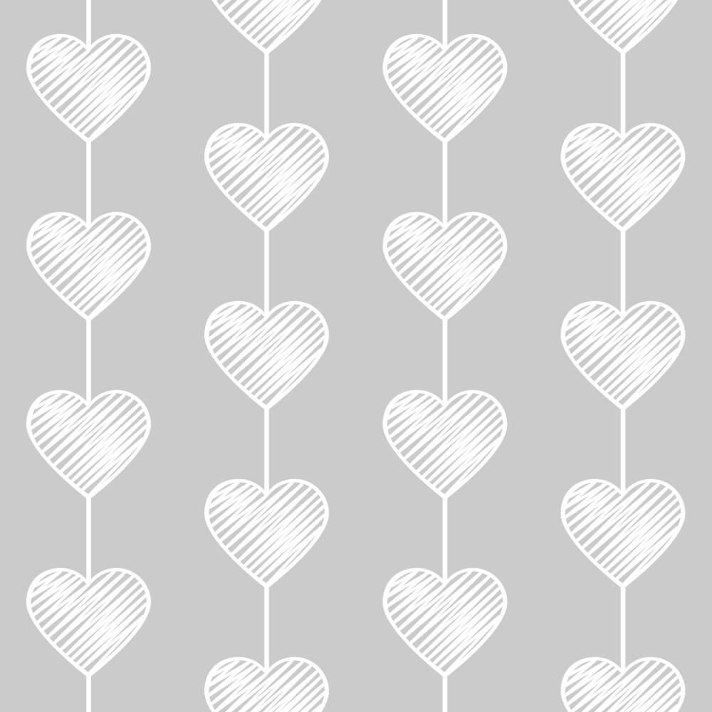 Papel de Parede Heart Curtain Gray