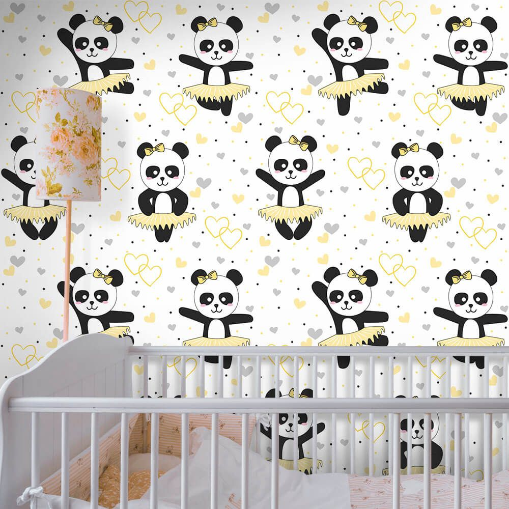 22f10dfc64 Papel de Parede Panda Ballet Clean - Qcola