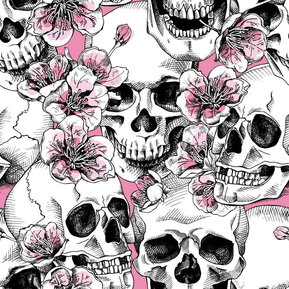 Papel de Parede Skull With Pink Cherry