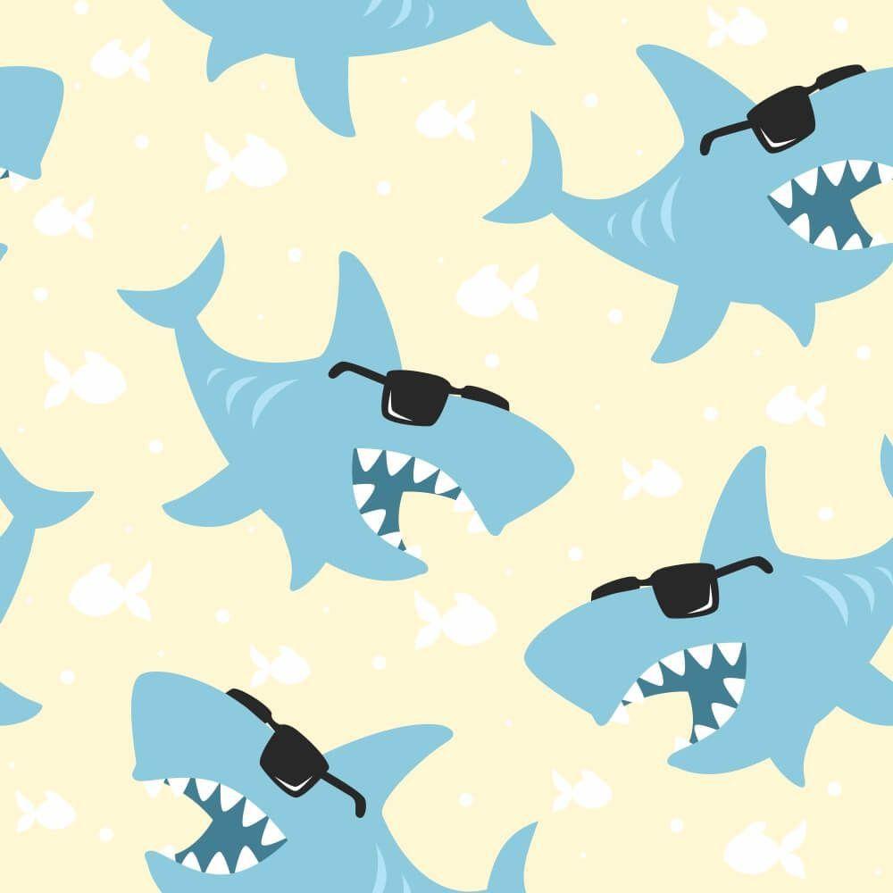 Papel de Parede Tubarões Óculos Clean