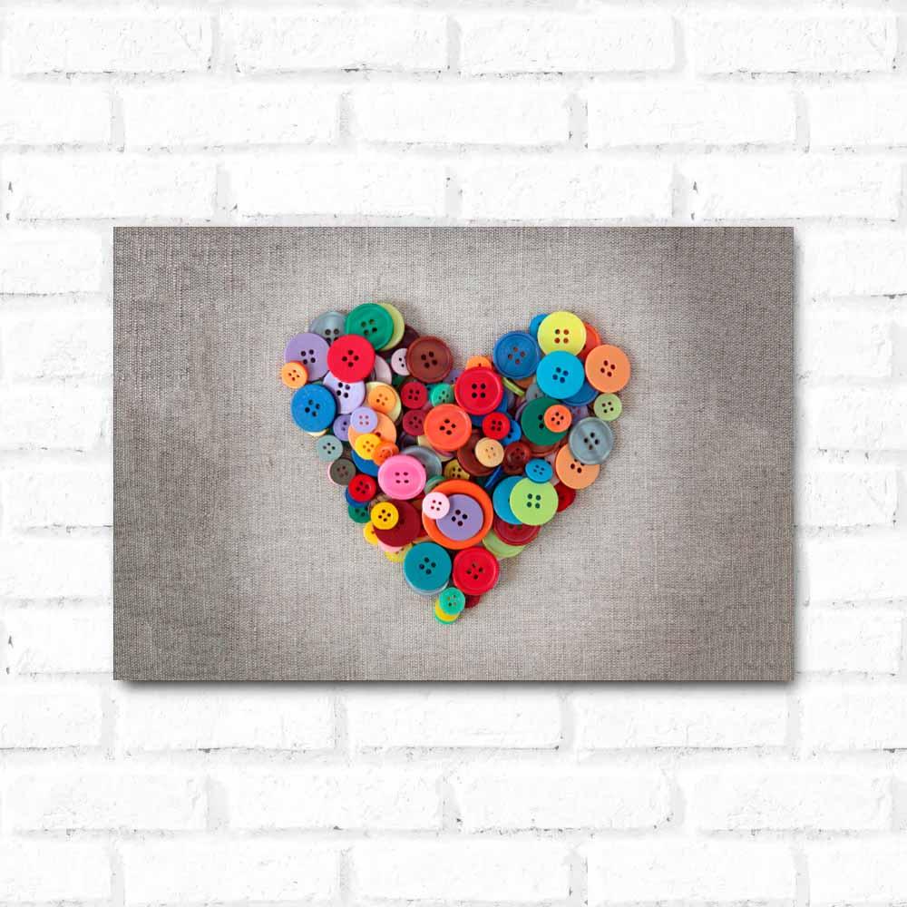 Placa Decorativa Coração Botões