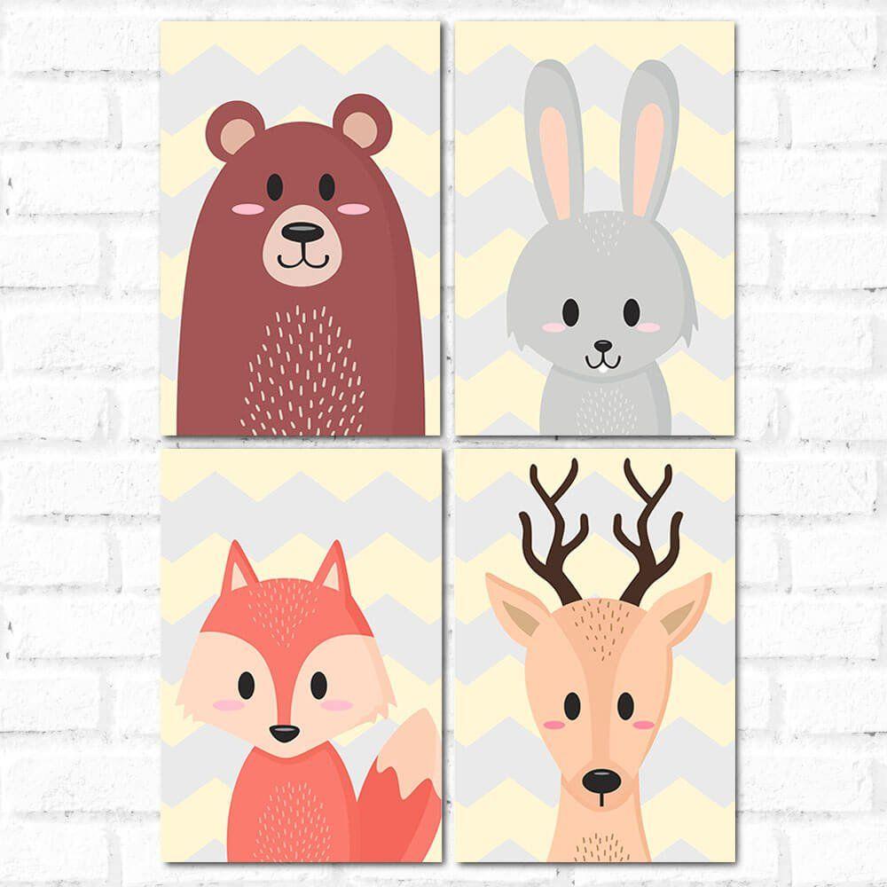 Placa Decorativa Kit Animals Cute