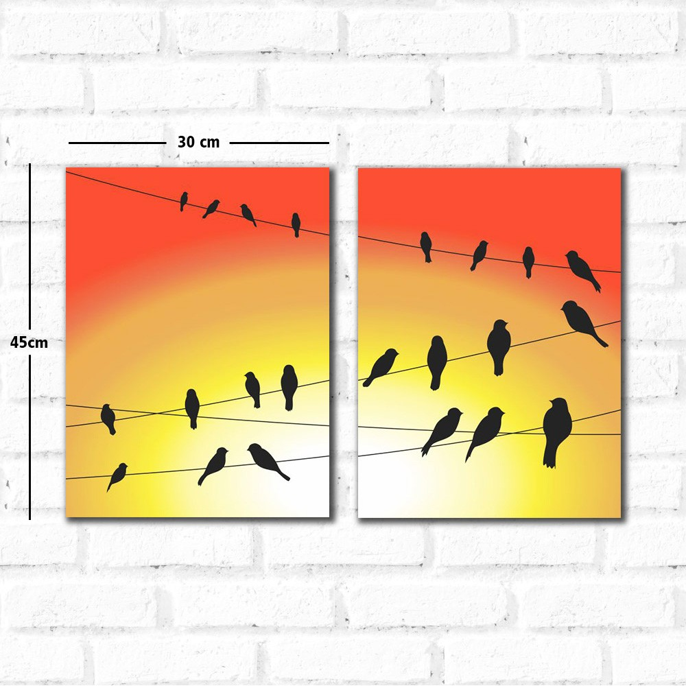 Placa Decorativa Kit Pássaros Fio