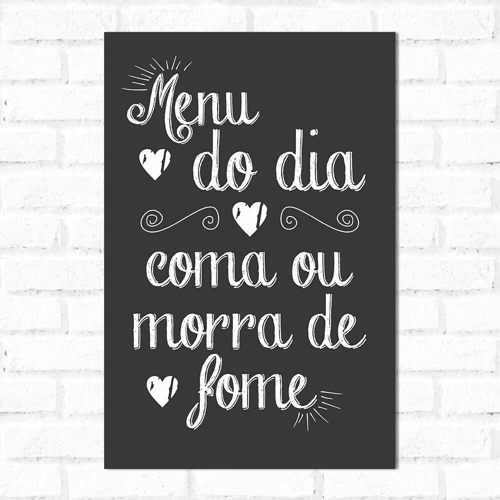 Placa Decorativa Menu do Dia
