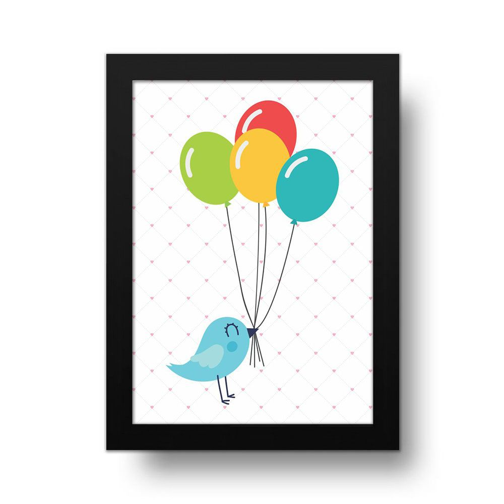 Placa Decorativa Passarinhos Balões