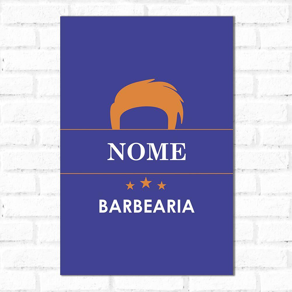 Placa Decorativa Personalizado Barbearia Orange