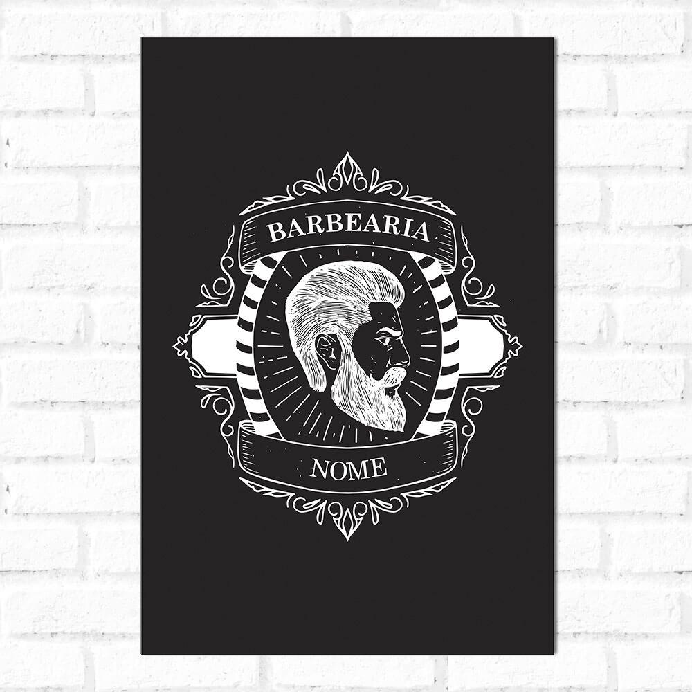 Placa Decorativa Personalizado Barber Shop Branco