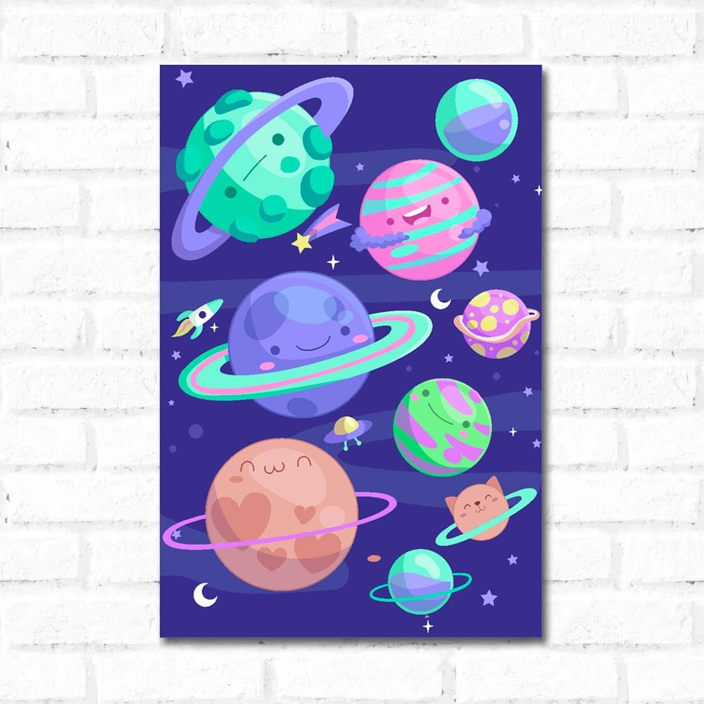 Placa Decorativa Planetas Infantil