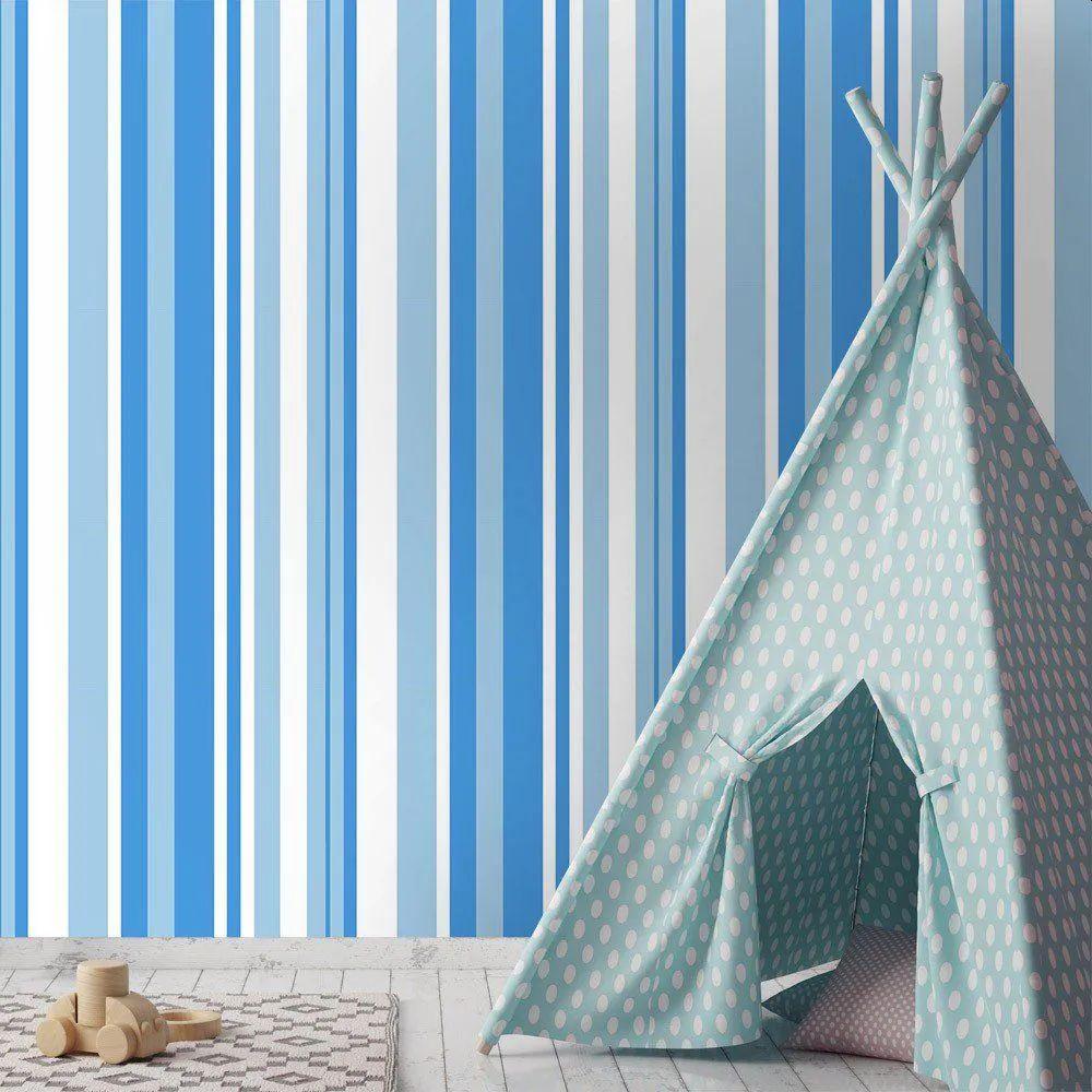 PROMOÇÃO - Papel de Parede Listras Azuis (58cm x 2,50m)