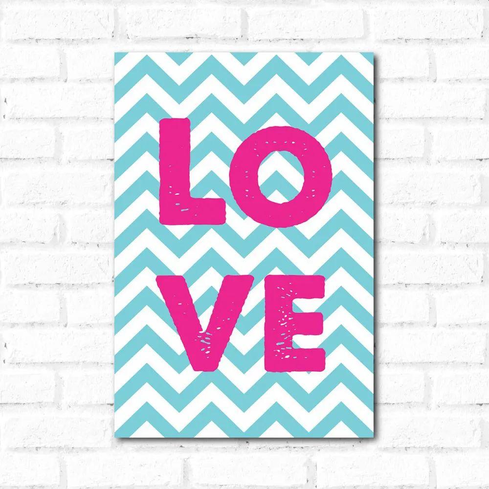 PROMOÇÃO - Placa Decorativa Love Chevron (20x30cm)