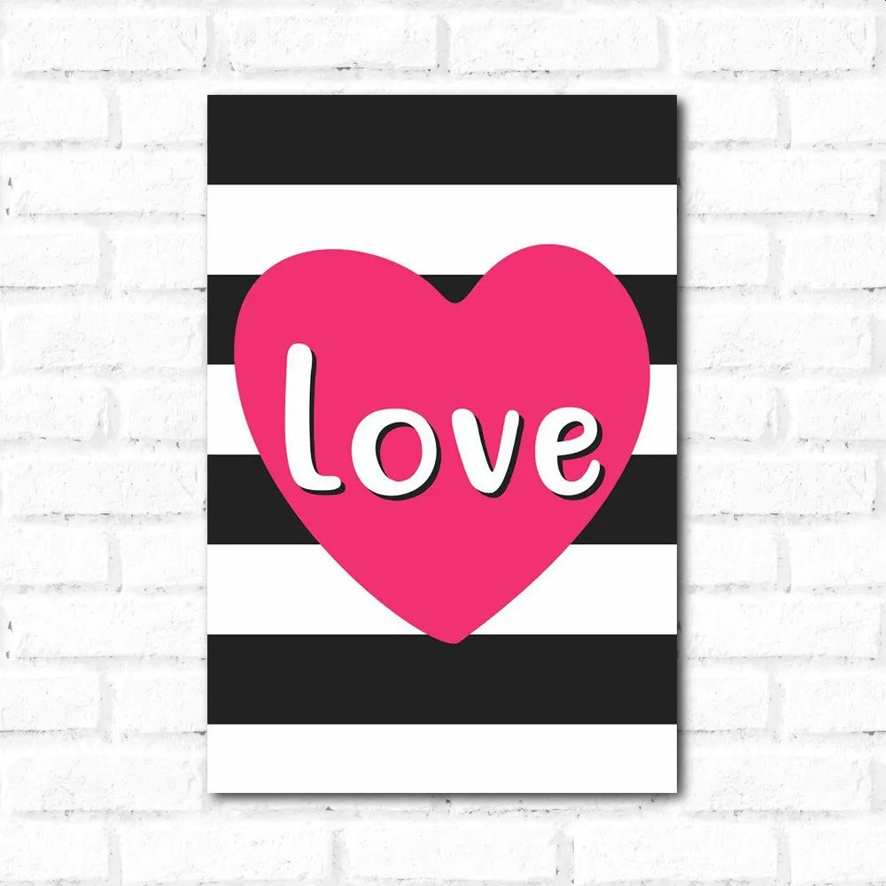 PROMOÇÃO - Placa Decorativa Love Listras (20x30cm)
