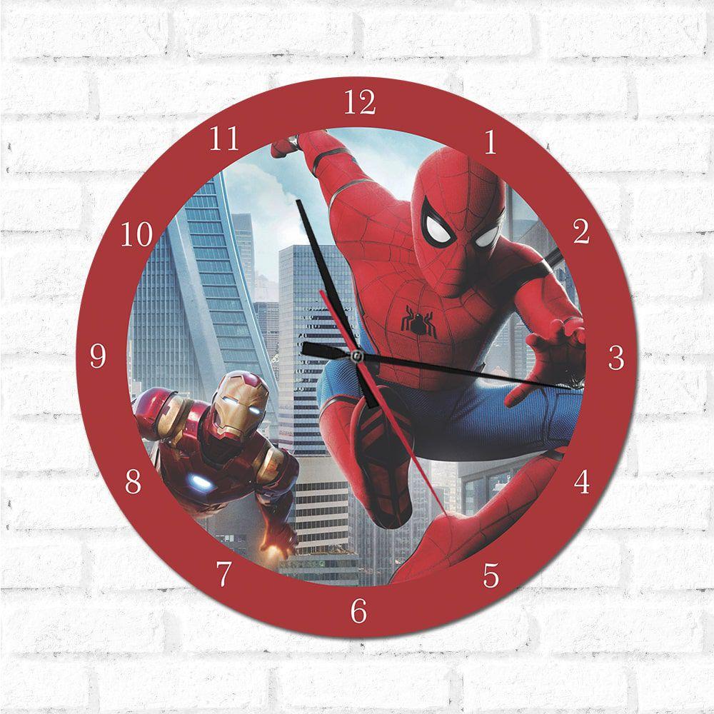Relógio Decorativo Homem DE Ferro e Homem Aranha