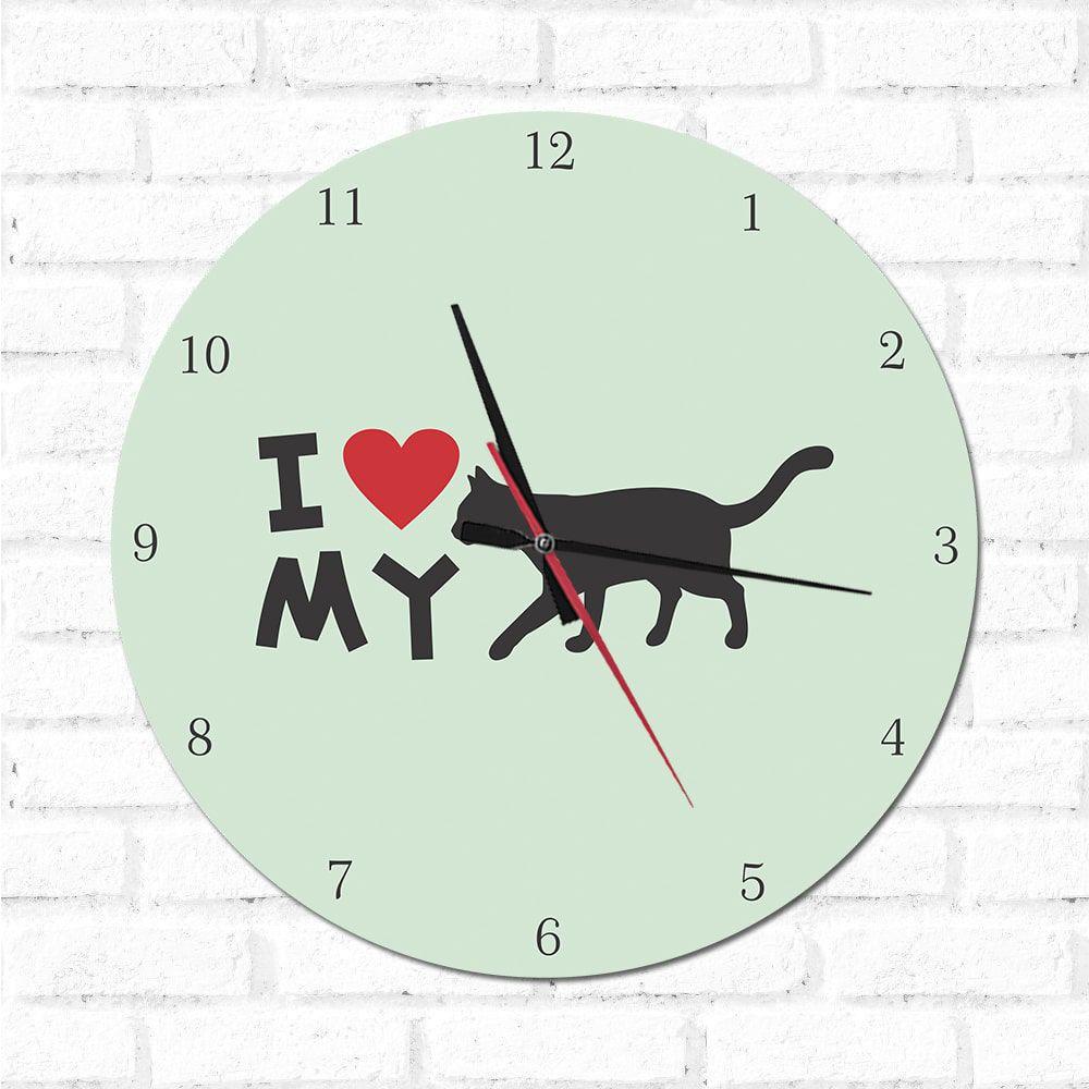 Relógio Decorativo I love My Cat2