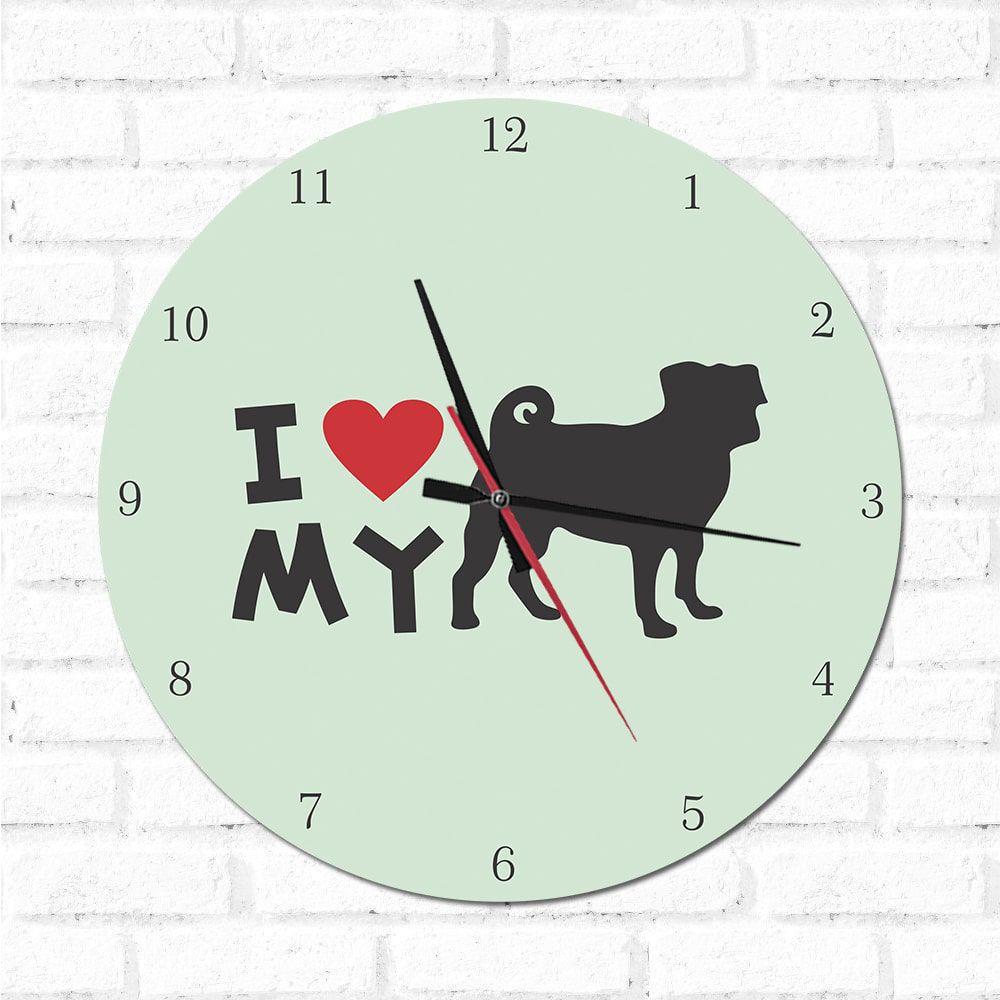 Relógio Decorativo I love My Pug