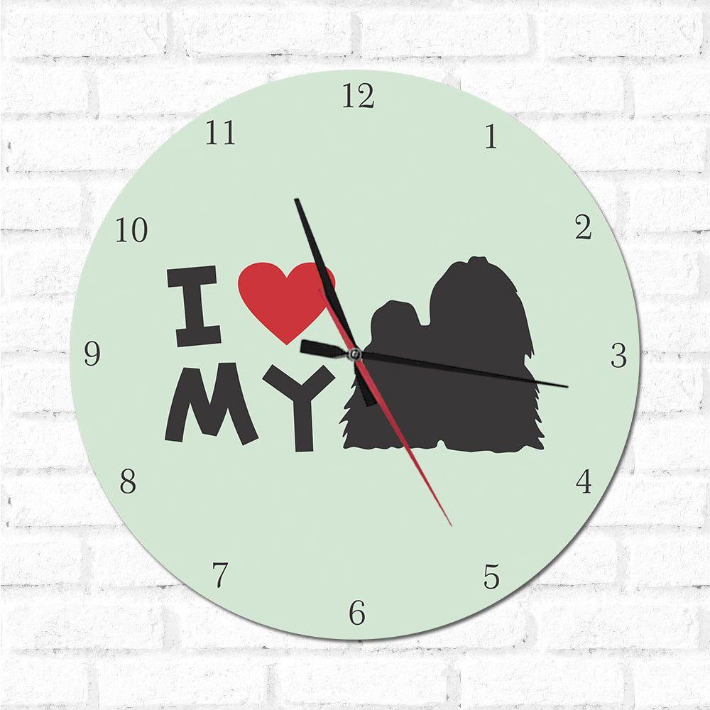 Relógio Decorativo I love My Shih Tzu