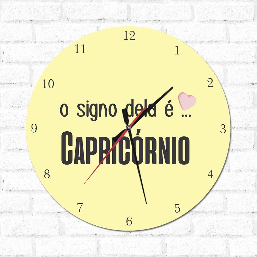 Relógio Decorativo O Signo dela é Capricórnio