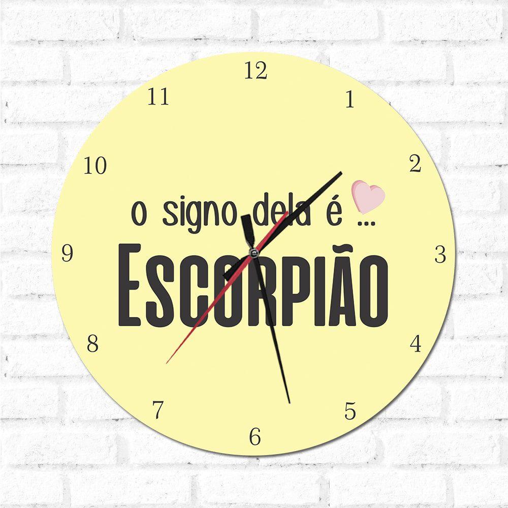 Relógio Decorativo O Signo dela é Escorpião