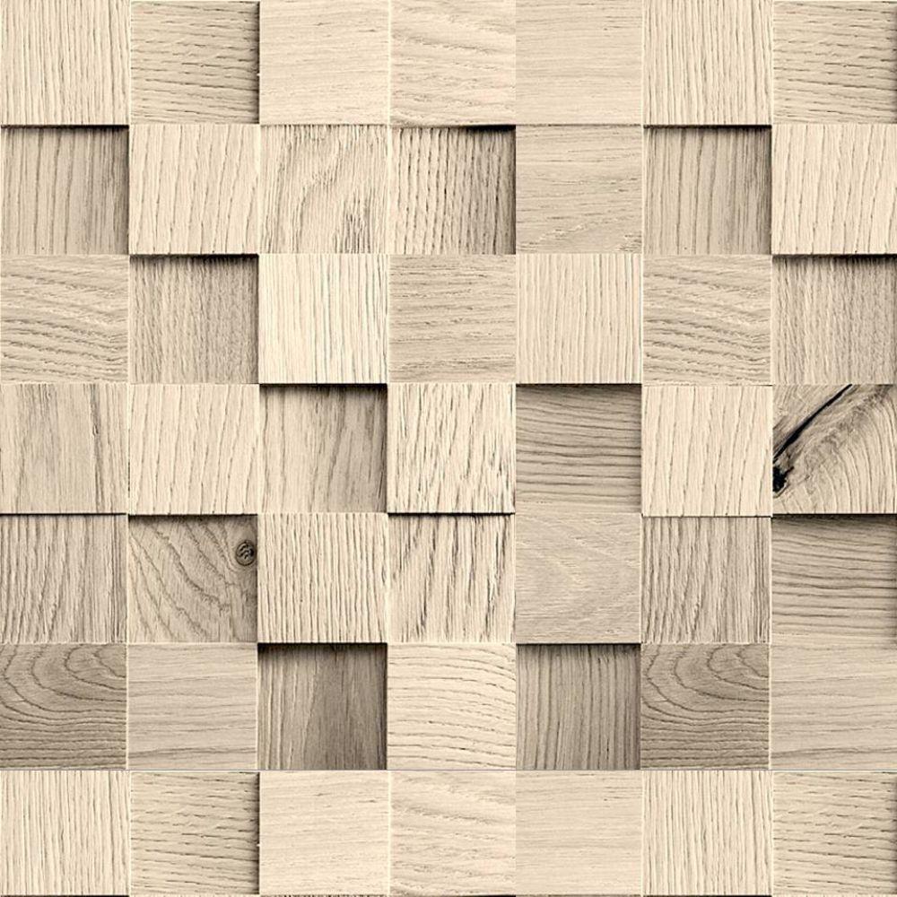 Saldão - Papel de Parede Cubos de Madeira 0,60x2,50m