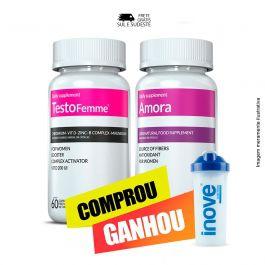 Combo 01 Amora Miura + 01 Testofemme Inove Nutrition c/ 60 cápsulas cada + Brinde Moove Slim + Moove Fiber + Coqueteleira Inove Nutrition 600ML