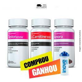 Combo - 01 L-Carnitina + 01 Testofemme + 01 Amora Inove Nutrition  + Brinde Moove Slim +  Moove Fiber + Moove Energy + Moove Hydrate + Coqueteleira Inove Nutrition 600 ML