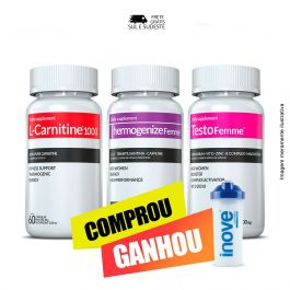 Combo 01 L-Carnitina + 01 Thermogenize Femme + 01 Testofemme Inove Nutrition c/ 60 cápsulas cada + Brinde Coqueteleira Inove Nutrition
