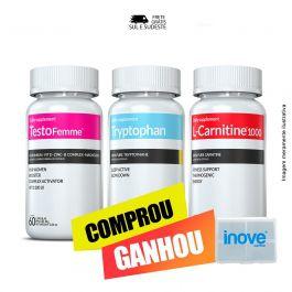 Kit 01 Testofemme + 01 Triptofano + 01 L-carnitina Inove Nutrition + Brinde porta cápsulas