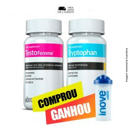 Kit 01 Testofemme 60 Cápsulas + 01 Triptofano Inove Nutrition 30 Cápsulas + Brinde  Moove Slim e Moove Fiber + Coqueteleira Inove Nutrition 600 ML