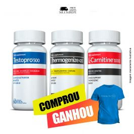Combo 01 Testopro®500 + 01 L-Carnitina + 01 Thermogenize®420 Inove Nutrition c/ 60 cápsulas cada + Brinde Moove Energy + Moove Slim + Moove Fiber + Moove Hydrate + Camiseta.