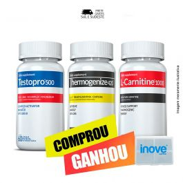 Combo 01 Testopro 500 + 01 L-Carnitina + 01 Thermogenize 420 Inove Nutrition c/ 60 cápsulas cada + Brinde Moove Energy + Moove Slim + Moove Fiber + Moove Hydrate + Porta Cápsulas.