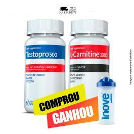 Combo 01 Testopro 500 + 01 L-Carnitina Inove Nutrition c/ 60 cápsulas cada +  Brinde Coqueteleira 600 ml