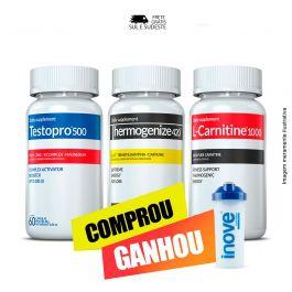 Combo 01 Testopro 500 + 01 Thermogenize 420 Inove Nutrition + 01 L- Carnitine c/ 60 cápsulas cada + Brinde  Moove Slim + Moove Hydrate+ Moove Fiber + Moove Energy + Coqueteleira 600 ML