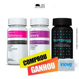 Combo - 01 Triptofano Dreams + 01 Testofemme + 01 Amora Inove Nutrition  + Brinde Porta capsulas