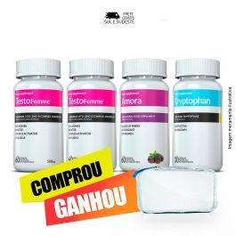 Combo 02 Testofemme ® + 01 Triptofano  + 01 Amora Miura + Brinde Moove Energy + Moove Slim + Moove Fiber + Moove Hydra + Necessaire