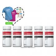 Combo 05 Potes L-Carnitina c/ 60 cápsulas cada + (grátis) 2 Moove Slim + 2 Moove Fiber + 2 Moove Hydrate + 2 Moove Energy + Camiseta + 25% off