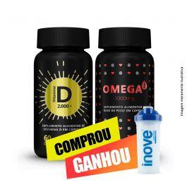 Combo coração e imunidade Ômega 3 + Vitamina D + Brinde coqueteleira Inove Nutrition