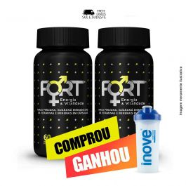 Combo  Fort Energia & Vitalidade Inove Nutrition 02 potes  C/ 60 cápsulas softgel  + Brinde Coqueteleira Inove Nutrition 600 ML.