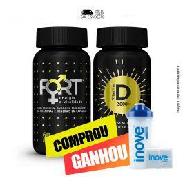 Combo Imunidade e vitalidade Vitamina D + Fort + Brinde Coqueteleira + Porta cápsulas Inove Nutrition