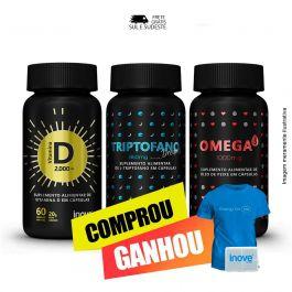 Combo coração, sono bom e imunidade Vitamina D + Triptofano Dreams + Ômega 3 + Brinde Camiseta  + Porta cápsulas Inove Nutrition