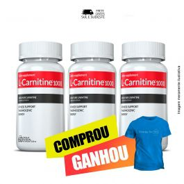Combo L-Carnitina 03 Potes Inove Nutrition c/ 60 cápsulas cada + Brinde Moove Energy + Moove Hydrate + Moove Slim + Moove Fiber + Camiseta.