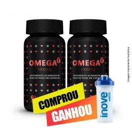 Combo  Omega 3 1000mg  Inove Nutrition 02 potes C/ 60 cápsulas softgel + Brinde Coqueteleira Inove Nutrition 600 ML.