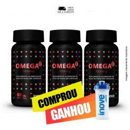 Combo  Omega 3 1000mg  Inove Nutrition 03 potes C/ 60 cápsulas softgel + Brinde Coquteleira Inove Nutrition.
