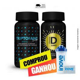 Combo  sono bom e imunidade Vitamina D + Triptofano Dreams + Brinde Coqueteleira  + Porta cápsulas Inove Nutrition