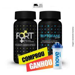 Combo sono bom e vitalidade Fort + Triptofano Dreams + Brinde Coqueteleira Inove Nutrition